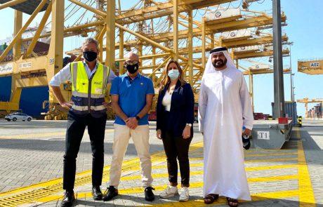 """היום התארחו יו""""ר נמל אשדוד, אורנה הוזמן בכור, ומנכ""""ל אשדוד, שיקו זאנה בחברת DP World, בנמל ג'בל עלי בדובאי"""